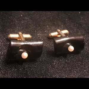 12k 1/20 gold filled Black Wooden cuff links set